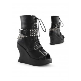 5 Inch Wedge Platform, Lace Up Calf High Boot