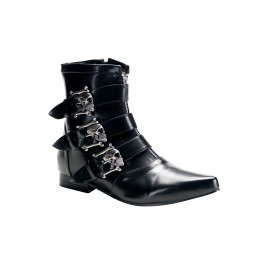 Men'S 1 Inch Heel Ankle Boot With Dirty Silver Skull Buckles