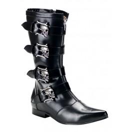 Men'S 1 Inch Heel Calf Boot With Bronze Skull Buckles