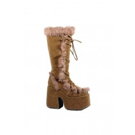 5 Inch Heel Imitation Suede Fur Trimmed Knee Boot Women'S Size Shoe