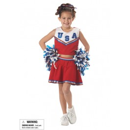 Patriotic Cheerleader Cute Kids Party Costume
