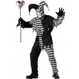 Mens Evil Jester Scary Clown Party Costume