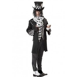 Men'S Dark Mad Hatter Fractured Fairytale Goth Costume
