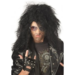 Black Heavy Metal Rocker Wig