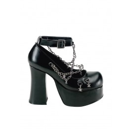 Women's 4 1/2 Inch Heel With Ankle Strap And Detachable Skull Chains