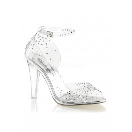 4 1/2 Inch Heel Open Toe Ankle Strap D'Orsay Sandal With Rhinestone