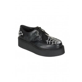 Men'S 2 Inch Platform Creeper With Embroidered Spider Web