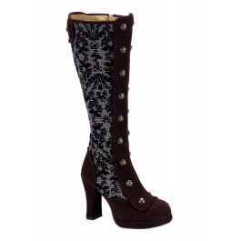 Women's 4 Inch Heel Embroidered Houndstooth Knee Boot