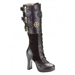 Women's 4 Inch Heel Buckled Knee Boot With Steampunk Emblem