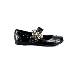Women's Maryjane Bat Buckle Flat With Rivet Detailing