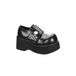 3 1/4 Inch Platform Oxford Women'S Size Shoe With Velcro Skull Strap