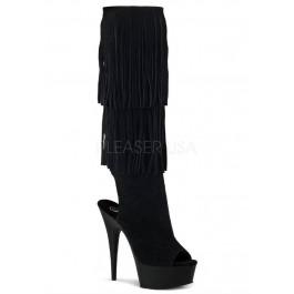 Women's 6 Inch Heel, 1 3/4 Inch Pf Open Toe/Back Fringed Knee Boot