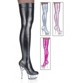 5 3/4 Spike Heel Platform Stretch Hologram Thigh Boot Women'S Size Shoe