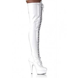 Women's 5 3/4 Spike Heel Platform Lace-Up Stretch Thigh Boot With Full Inner Side Zipper