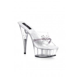 Women's 6 Inch Stiletto Heel Platform Slide With Rhinestone Butterfly