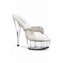 6 Inch Heel, 1 3/4 Inch Platform Slide With Rhinestone Ornament