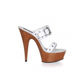 Women's 6 Inch Stiletto Heel Faux Wood Platform Slide With