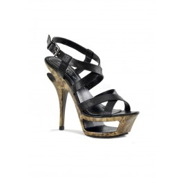 5 1/2 Inch Heel, 1 3/4 Inch Cut-Out Platform Criss Cross Sandal