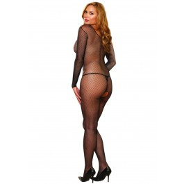 Amsterdam, Plus Size Fishnet Long Sleeved Open Crotch Bodystocking