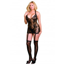 Florence, Plus Size Floral Stretch Lace Halter Garter Dress With Stockings