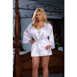 2Pc Yours Truly Charmeuse Robe Set Sexy Plus Size Lingerie Intimate Apparel With Attached Belt