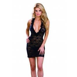2Pc Midnight Lace Stretch Lace Halter Babydoll Sexy Lingerie Intimate Apparel With Ruffled Neckline