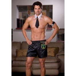 3Pc Strip Search Satin Boxer Short Men'S Sexy Sleepwear Apparel With Removable Name Badge