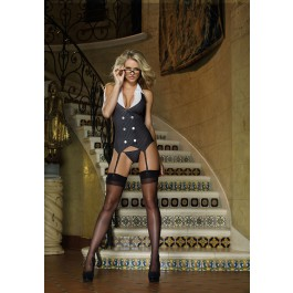 Women's Garter Dress, Thong And Glasses