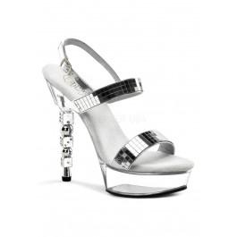5 1/2 Inch Rhinestone Embellished Stacked Dice Heel