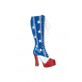 5 Inch Lace Up American Flag Platform Boot, Side Zipper