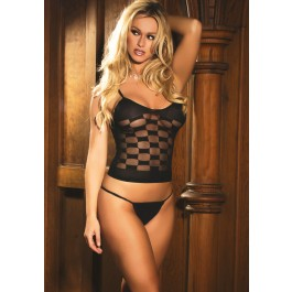 Checkered Pattern Mesh Cami And G-String