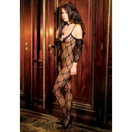 Plus Size Open Crotch Bow Lace Bodystocking