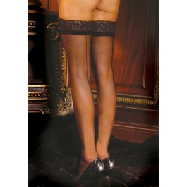 Plus Size Sheer Thigh-High Stockings With Lace Top And Backseam