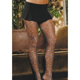 Sheer Pantyhose With Glow In The Dark Spider Web Print