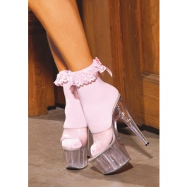 Nylon Ankle sock With Ruffle And Satin Bow.