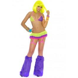 Neon Nites Mesh String Bra And Matching Skirt