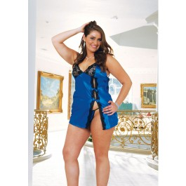 Plus Size Charmeuse Baby Doll With Lace Trim, Double Adjustable Straps