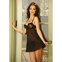 Plus Size Embroidered Mesh Babydoll With Matching G-String