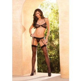 Mesh Bra And Garter Belt With Bead Trim