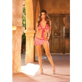 Soft Cup Bra With Tie Neck And Ruffled Trim On Cups