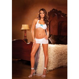 Mesh Bra With Gathered Front, Ruffled Straps And Satin Bow