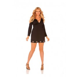 Plus Size Long Sleeve V-Neck Dress With Open Shoulders And Ring Trim