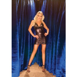 Halter Style Mini Dress With Black Band At Bodice