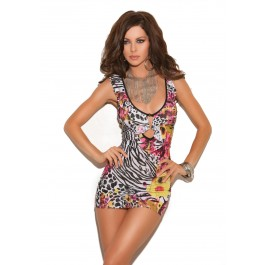 Mini Dress With Halter Neck, Deep V Keyhole Front