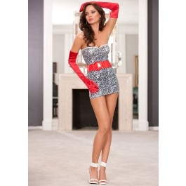 Strapless Mini Dress With Red Patent Leather Belt