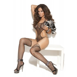 Fishnet Teddy And Matching Stockings With Rhinestone Accents.