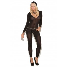 Opaque Long Sleeve Footless Bodystocking