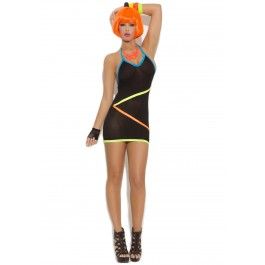 Mini Dress With Neon Strap Detail