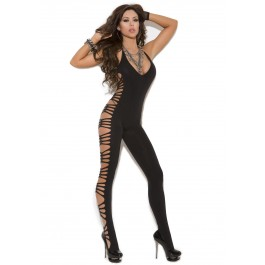 Deep V Opaque Bodystocking With Cut Out Side Detail.