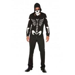 2 Pc. Costume Includes Zip Front Hoodie And Bandana. Glow In The Dark